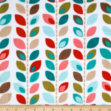 Adorn-it Minky Cuddle Leaf Row Coral Fabric By The Yard