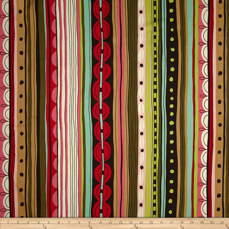 Alexander Henry Africa Nyanza Stripe Coffee/Pink Fabric