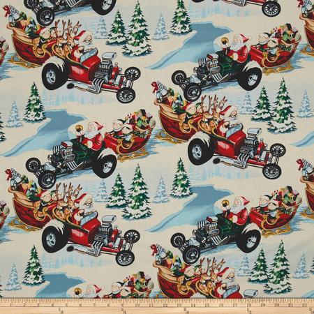 Alexander Henry Christmas Time Hot Rod Holiday Brite Fabric By The Yard