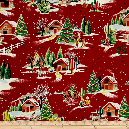 Alexander Henry Christmas Time Western Winter Red Fabric By The Yard