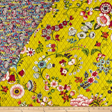 Alexander Henry Double Sided Quilted Bella Strada Speranza Chartreuse Fabric