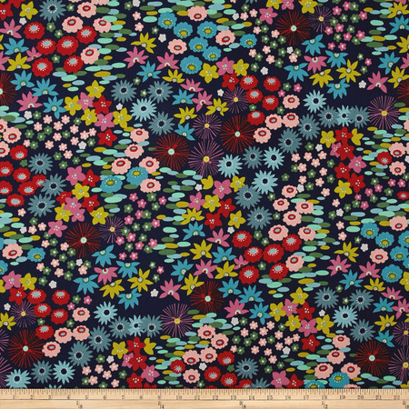 Alexander Henry Everyday Eden Darling Starling Linen Navy Fabric By The Yard