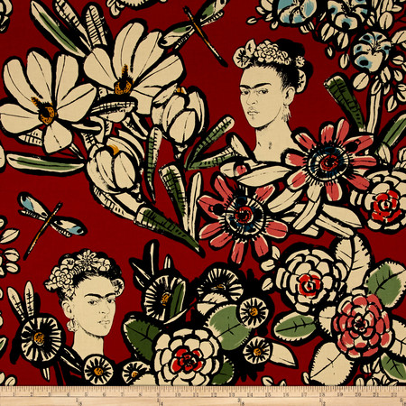 Alexander Henry Folklorico Cactus Flower Red Fabric By The Yard