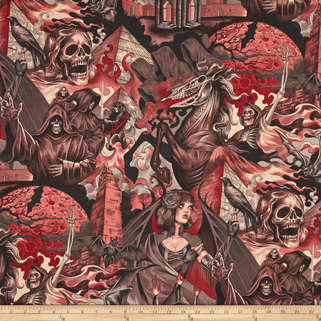 Alexander Henry Haunted House Heart of Darkness Red Fabric By The Yard