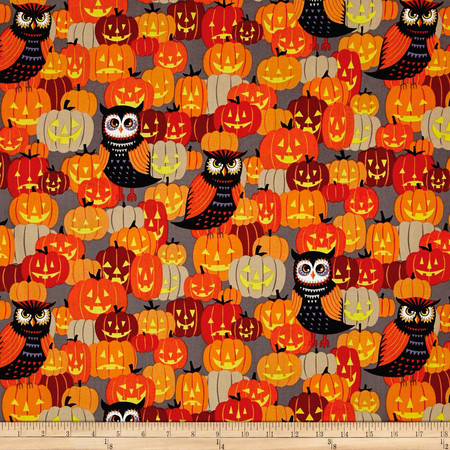 Alexander Henry Haunted House Owl Be Seeing You Gray Fabric By The Yard