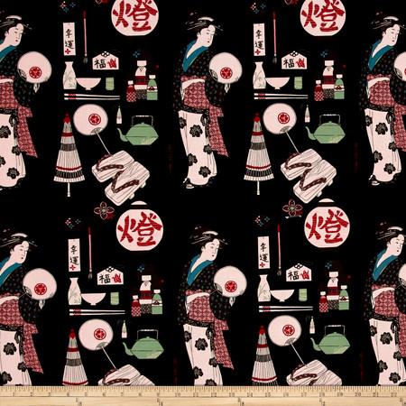 Alexander Henry Indochine Geisha Coterie Black Fabric By The Yard