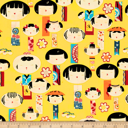 Alexander Henry Indochine Yui Kokeshi Ginger Fabric By The Yard