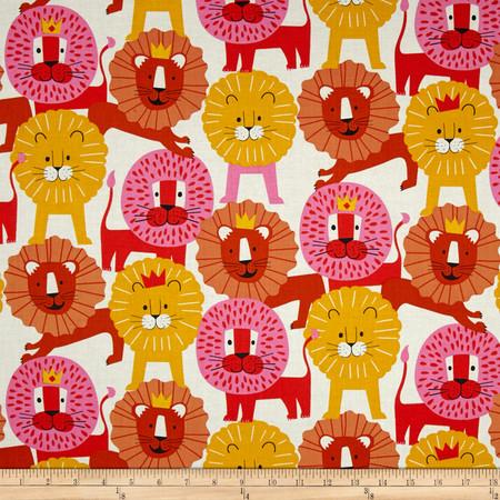 Alexander Henry Monkey's Bizness Little Lion Pink Orange Fabric By The Yard