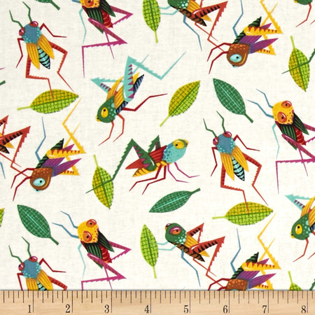 Alexander Henry Monkey's Bizness The Hoppers Natural/Multi Fabric By The Yard