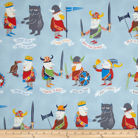 Alexander Henry Monkey's Bizness The Vikings Light Blue Fabric By The Yard