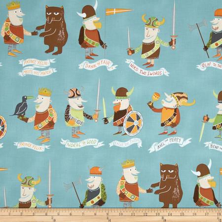 Alexander Henry Monkey's Bizness The Vikings Slate Fabric