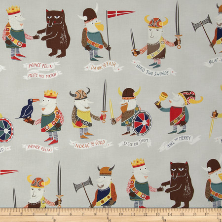 Alexander Henry Monkey's Bizness The Vikings Taupe Fabric