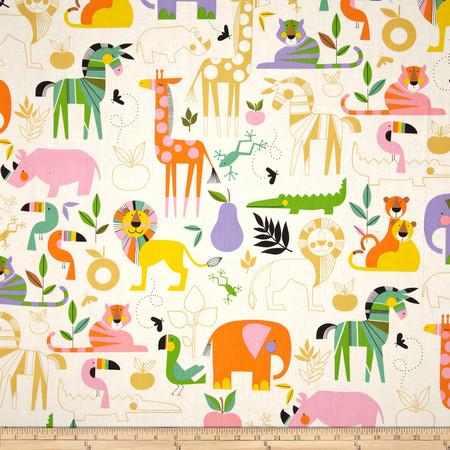 Alexander Henry Monkey's Bizness Zoo Bisou Nat/Brite Fabric