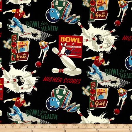 Alexander Henry Nicole's Prints Bowl for Health Black Fabric