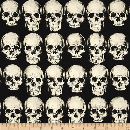 Alexander Henry Nicole's Prints Rad Skull Black Fabric By The Yard