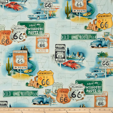 Alexander Henry Nicole's Prints Route 66 Sage Tint Fabric By The Yard