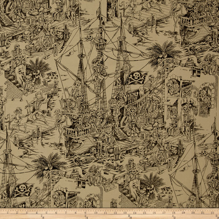 Alexander Henry Nicole's Prints Skelewags Sepia Fabric By The Yard