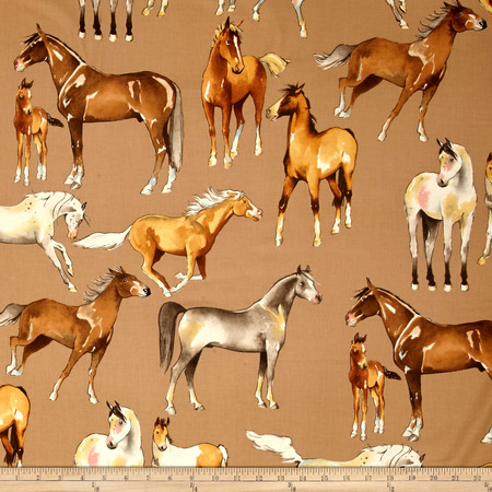 Alexander Henry Santa Fe Love of Horses Taupe Fabric By The Yard