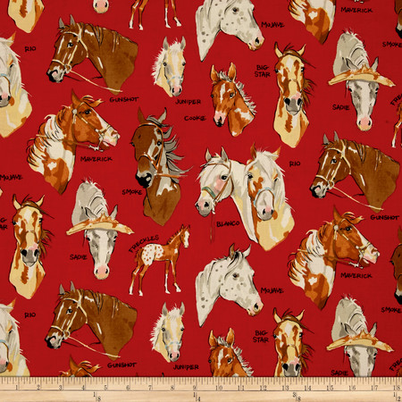 Alexander Henry Santa Fe Stable Mates Red Fabric By The Yard