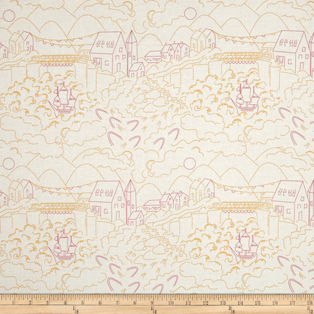Alison Glass Abacus Village Orange Fabric