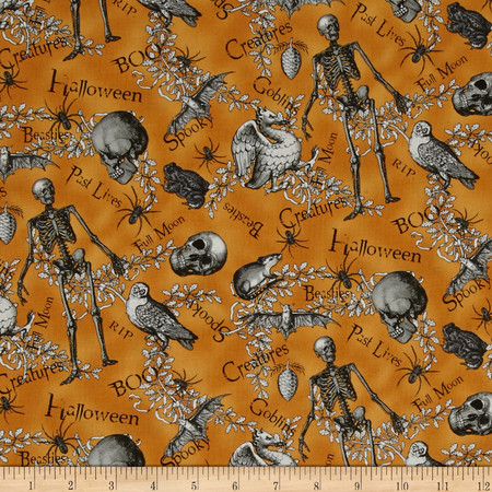 All Hallow's Eve Halloween Motifs Words Orange Fabric By The Yard