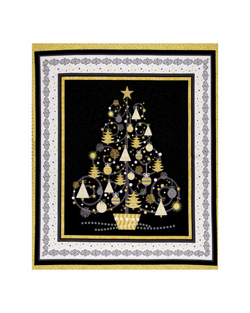 All That Glitters Metallic Christmas Tree 36 In. Panel Black Fabric By The Yard