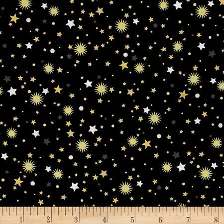 All That Glitters Metallic Stellar Toss Black Fabric By The Yard