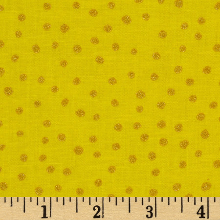 All That Glitters Polka Dot Calico Yellow Fabric By The Yard