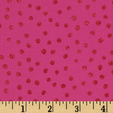All That Glitters Polka Dot Fuchsia Fabric
