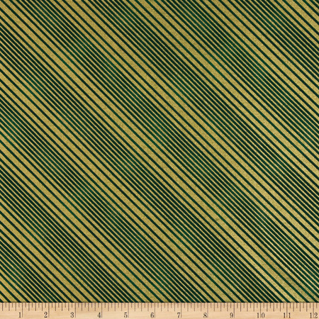 All Wrapped Up Metallic Diagonal Stripe Gold/Green Fabric