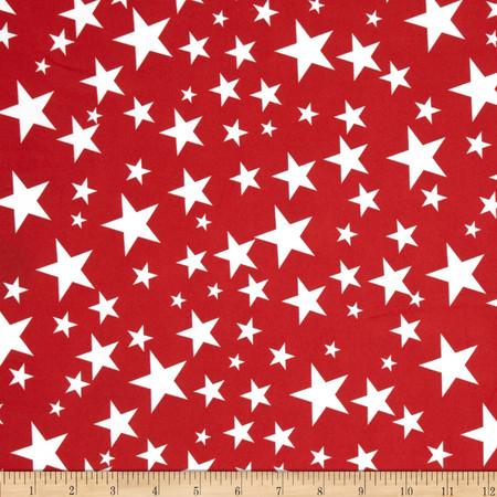 Alpine Star Poplin Red/White Fabric