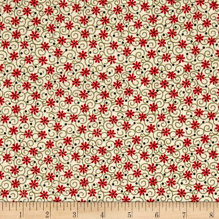 Always The Season Floral Green/Cream/Red Fabric By The Yard