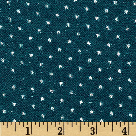 Amanda Stretch Sweater Knit Sparkle Dot Teal Fabric