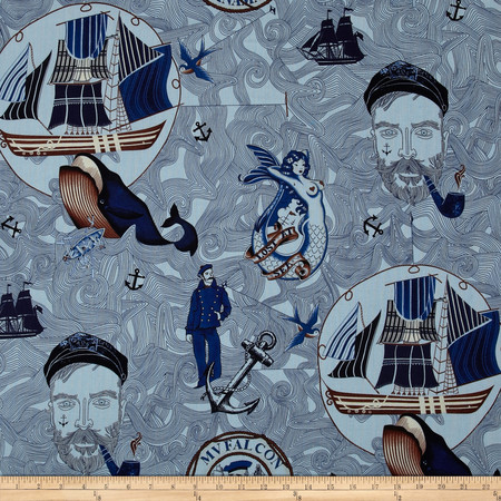 American Coast Lost at Sea Blue Fabric By The Yard