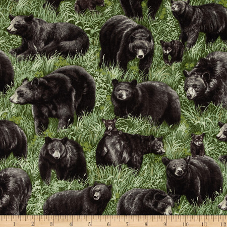 American Wildlife Bears Multi Fabric By The Yard