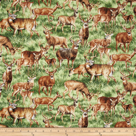 American Wildlife Deer Multi Fabric By The Yard