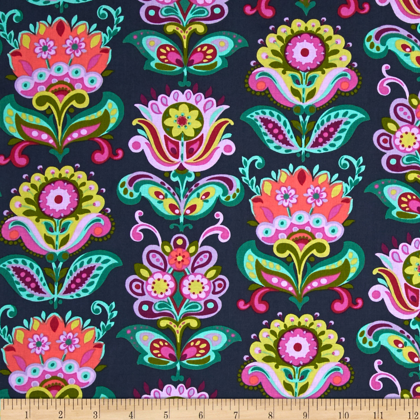 Amy Butler Home Decor Fabric Amy Butler Bright Heart Folk Bloom Midnight Fabric By The Yard