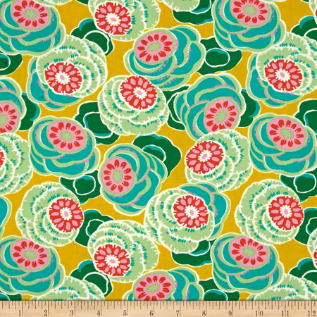 Amy Butler Dream Weaver Clouded Floral Ochre Fabric By The Yard
