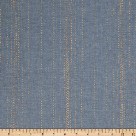 Andover Printed Chambray  Stitch Lines Blue/Gold Fabric By The Yard