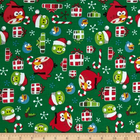 Angry Birds Holly Jolly Christmas Green Fabric