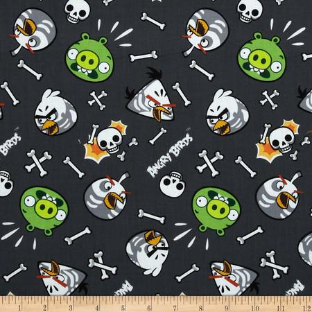 Angry Birds Skeleton Birds Grey Fabric