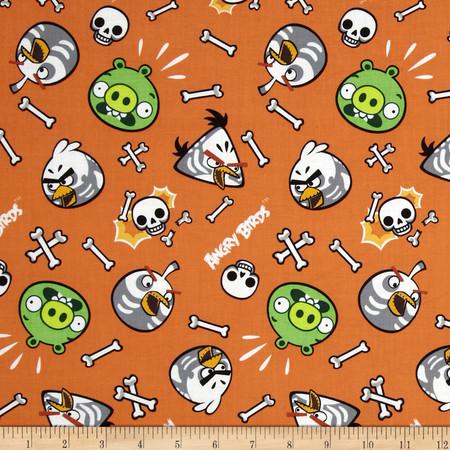 Angry Birds Skeleton Birds Orange Fabric