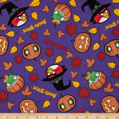 Angry Birds Spooky Angry Birds Purple Fabric By The Yard