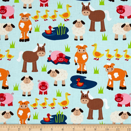 Apple Hill Farm Animals Sky Fabric