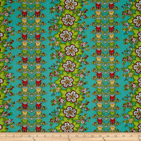 April Cornell Gypsy Dance Folklore Stripe Teal Fabric By The Yard