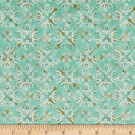 Arabesque Tonal Scroll Light Teal Fabric By The Yard