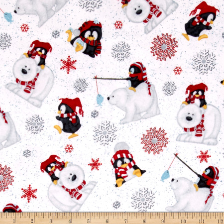 Arctic Antics Flannel Tossed Polar Bears White Fabric By The Yard