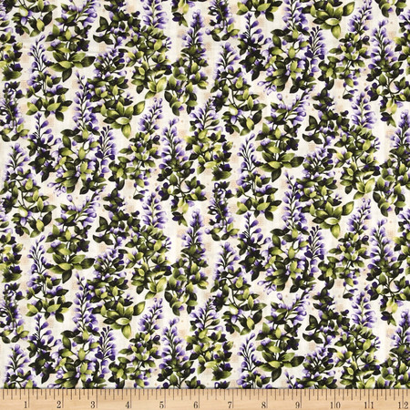 Asian Garden Background Purple/Green Fabric By The Yard