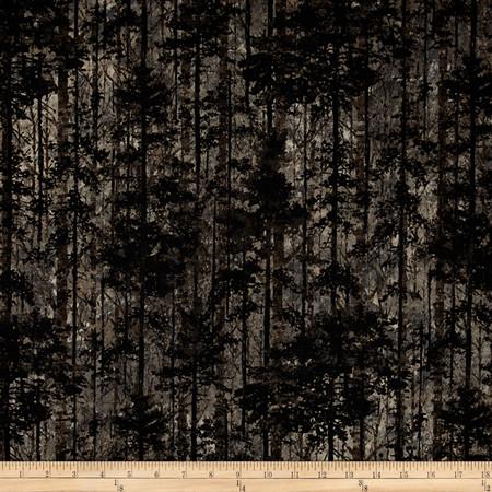 Aspen Ridge Deciduous Trees Slate Colorway Fabric
