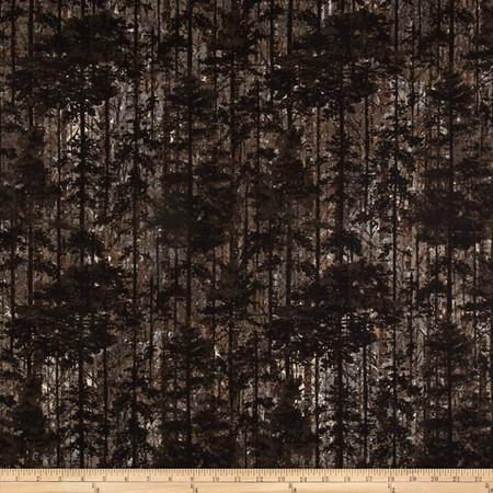Aspen Ridge Flannel Decidouos Tree's Slate Fabric